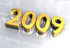 New year 2009 in gold (3D) Royalty Free Stock Photos
