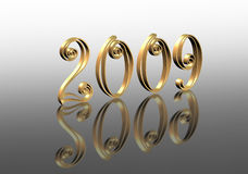 New Year 2009 graphic reflected 3D. Golden 3D numbers 2009 Illustration for New Years Eve or calender Stock Photo