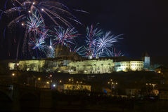 New Year 2009,Prague Castle and Fireworks Stock Image