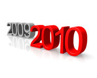 New Year 2010. Is highlighted in red. The passing in 2009 - gray Royalty Free Stock Photo