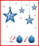New Year 2010. A holiday design for New Year 2010 with Christmas decoration and blue and white background with copyspace for your text or logo. Objects are very stock illustration
