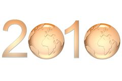 New year 2010. 2010 happy new year earth gold background Royalty Free Stock Photography