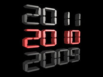 New Year 2010. 3d digital text showing the date changing to 2010 Stock Illustration