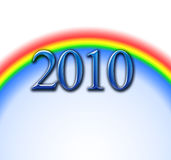 New year 2010. The rainbow comes with the year of 2010 Stock Photography