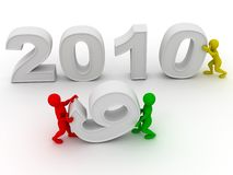 New Year. 2010. New Year on white background. 2010. 3d Stock Image