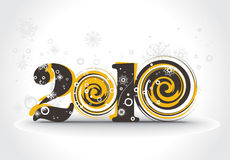 New year 2010. In white snow background. Vector illustration royalty free illustration