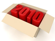 New year 2010. 2010 text. High quality 3D render Royalty Free Stock Image