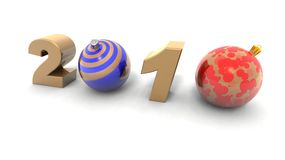 New year 2010. A 3d rendering with baubles to illustrate the new year 2010 Royalty Free Stock Image