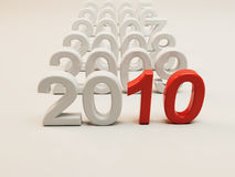 New Year 2010. Image from the 2010 series.Successive numbers of years on plain white ground with eye-cathing red number 10. Realistic 3d Render royalty free illustration