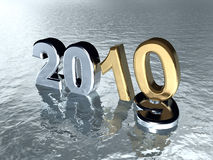 New Year 2010. Image from the 2010 series.Numbers 2010 rising on the water's surface. Realistic 3d render Royalty Free Stock Photography