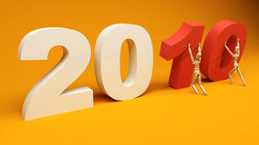 New Year 2010. Image from the 2010 series.Two puppet guys carrying the number of new year 2010. Realistic 3d render Stock Photography