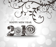 New year 2010 background. Floral background with  new year 2010  in white background. Vector illustration Royalty Free Stock Images