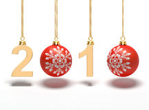 The new year 2010 with balls. A computer generated image representing the new year 2010 with Christmas balls Royalty Free Stock Images