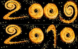 New year 2010 - frame. The new year is coming. The card from calendar with the number of new year and stars Royalty Free Stock Photography