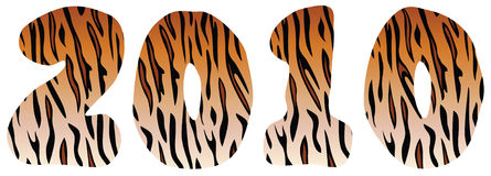 New year 2010 numbers. Made of of tiger skin Stock Image