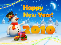 New Year 2010 Postcard. Fancy snowman greets everyone with New Year royalty free illustration