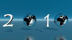 New year 2010 with two earth. Instead of number zero in green background of sea and sky vector illustration