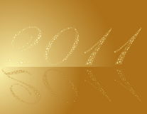 New Year 2011. Made of gold stars Stock Photography