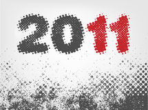 New year 2011. Grunge halftone design, vector Stock Photo