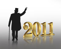 New Year 2011. 3D illustration for New years eve 2011 greeting card or party invitation with gold numbers and silhouetted well dressed gentleman showing peace Stock Photography