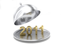 The new year 2011. A computer generated image representing a silver cloche with the new year 2011 inside Stock Photography
