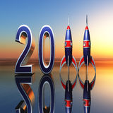 New Year 2011. A New Year celebration background 2011 with rockets standing for eleven against horizon Stock Image