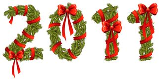 New Year 2011. New Year number 2011 made with pine branches and ribbons Royalty Free Stock Photo