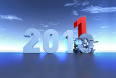 New Year 2011. Year 2011 comes with bang vector illustration