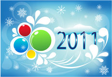 New year 2011. The image of a card for new year and Christmas multi-colored spheres on a blue background with snowflakes and snow on figures 2011 stock illustration