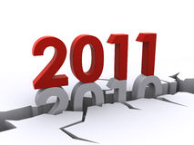New year 2011. Replacing the old 2010 (3d render Royalty Free Stock Photography