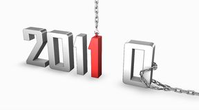 New year 2011. 3d render image of 2011 new year replacing 2010 Royalty Free Stock Photos