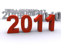 New year 2011. In front with prevoius new years  in the back (3d render Royalty Free Stock Image