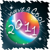 New Year 2011. 'Have a Cool 2011' message on a rainbow color sphere with a a dark background with sparkles stock illustration