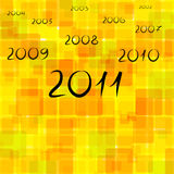 New year 2011. Abstract orange background with numbers of years vector illustration