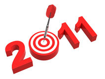 New Year 2011. Dart hitting target - New Year 2011 isolated on white. Computer generated 3D photo rendering royalty free illustration