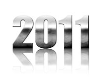 New year - 2011. 2011 chrome number with reflection isolated on white, new year illustration Royalty Free Stock Photos
