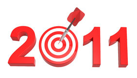 New Year 2011. Dart hitting target - New Year 2011 isolated on white. Computer generated 3D photo rendering stock illustration