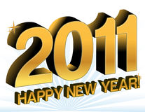 New Year 2011. Golden 2011 happy new year text over a rays of light background Stock Images