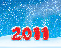 New Year 2011. 2011 New Year's background with the snowstorm and snowdrift Stock Image