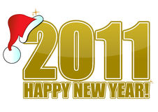 New Year 2011. Golden 2011 happy new year text with a santa hat Royalty Free Stock Images