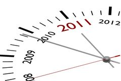 The new year 2011. In a clock royalty free illustration