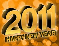 New Year 2011. Golden 2011 happy new year text over party lights Royalty Free Stock Image
