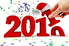 New year 2011. 3d image of new year with numbers and hand stock illustration