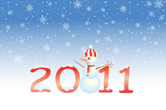 New Year 2011. Blue 2011 background with snowman and snowflake Royalty Free Stock Photography