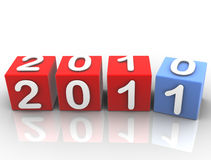 New Year 2011. Three dimensional shape , Fore Cubes , The new Year 2011 Vector Illustration