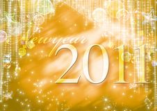 New Year 2011. Gold  background Royalty Free Stock Photography