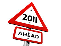 New Year - 2011 Ahead. Road Sign Indicating 2011 Ahead Royalty Free Illustration