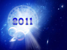 New year 2011 and astrology. Astrology concept with Universe, zodiac, planets and the new year of 2011 year with copy space vector illustration