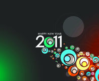 New year 2011 background design. Abstract new year 2011 colorful circle design.  Vector illustration Stock Photography