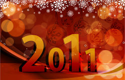 New year 2011 background design. 2011 card beautiful  illustration of chritsmas and new year Royalty Free Stock Photos